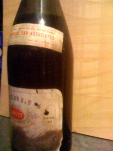 1928 Chablis bottle with tax stamp