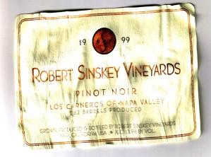 Robert Sinskey Vineyards Pinot Noir Carneros 1999