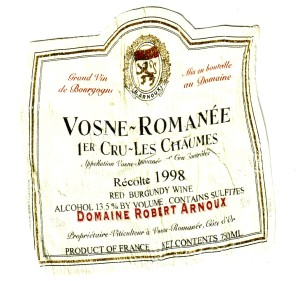 Vosne-Romanee 1'er Cru-Les Chaumes Arnoux 1998
