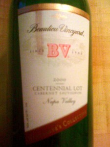 Beaulieu Vineyards CS Centennial Lot Napa 2000