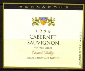 Bernardus Cabernet Sauvignon Carmel 1998