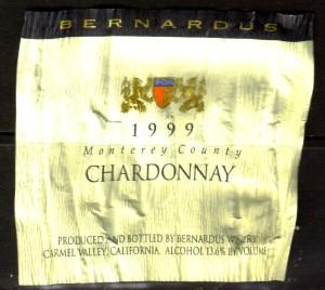 Bernardus Chardonnay Monterey 1999