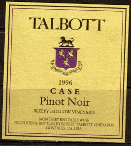 Talbott Pinot Noir Case Sleepy Hollow 1996