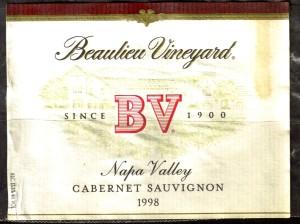 Beaulieu Vieyard Cabernet Sauvignon Napa 1998
