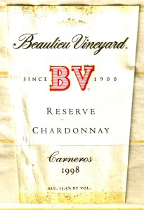 Beaulieu Vineyard Chardonnay Reserve Carneros 1998
