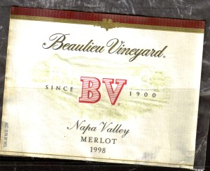 Beaulieu Vineyard Merlot Napa 1998