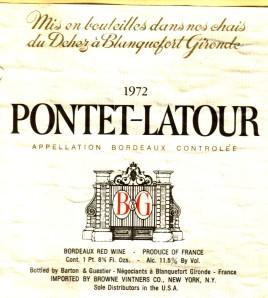 B&G Pontet-Latour Bordeaux 1972