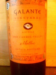 Galante Ace High Malbec Carmel Valley 2009