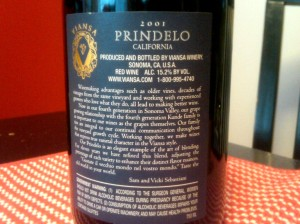 Viansa Prindelo 2001 Back Label