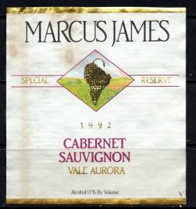 Marcus James Cabernet Sauvignon Vale Aurora 1992