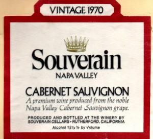 Souverain Cabernet Sauvignon Napa 1970