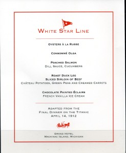 GH White Star Line Menu