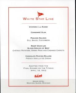 GH White Star Line Menu