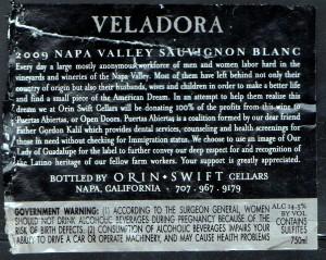 Orin Swift Veladora Sauvignon Blanc 2009 (B)