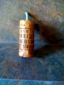 Cork with wooden screw inserted