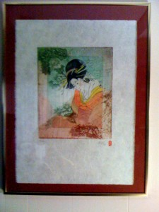Oriental Lady on Handmade Rice Paper