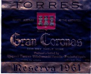 Torres Gran Coronas Reserva 1961
