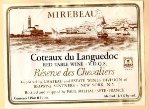 Mirebeau Coteaux du Languedoc Reserve des Chevaliers