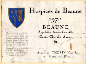 Hospices de Beaune Cuvee Clos des Avaux 1970
