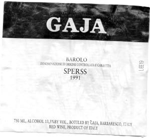 Gaja Sperss Barolo 1991