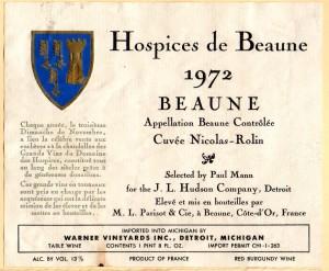 Hospices de Beaune Cuvee Nicolas Rolin 1972