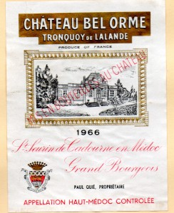 Chateau Bel Orme Haute Medoc 1966