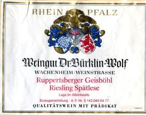 Dr. Burklin-Wolf Rppertsberger Geisbohl Riesling Spatlese