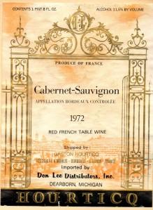 Cabernet Sauvignon Bordeaux Hourticq 1972