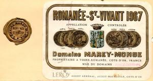 Romanee St Vivant Domaine Marey Monge 1967