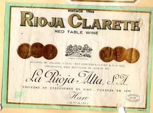 Rioja Clarete La Rioja Alta 1966