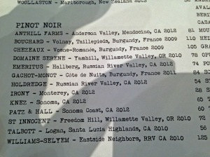 Pinot Noir Wine List