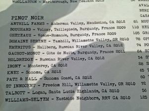 Pinot Noir Wine List