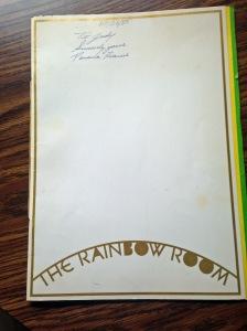 NY The Rainbow Room Menu