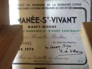 Romanee St Vivant MareyMonge DLRC 1974