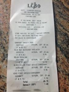 LCBO receipt 61215