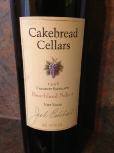 Cakebread Cellars Cabernet Sauvignon Benchland Select Napa Valley 1998
