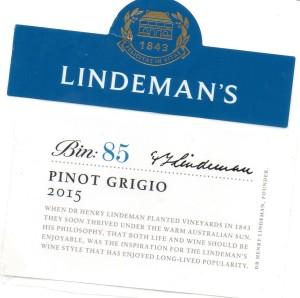 Lindemans Bin 85 Pinot Grigio 2015