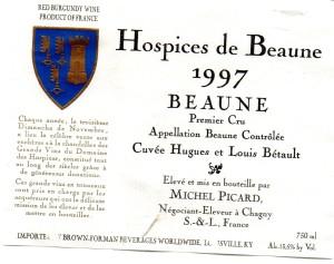 Hospices de Beaune Cuve Hugues et Louis Betault 1997